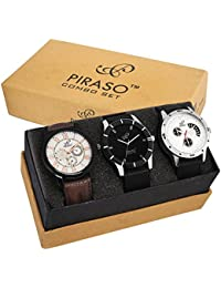 PIRASO Pack of 3 P3-11 Multicolour Analog Watch for Men and Boys