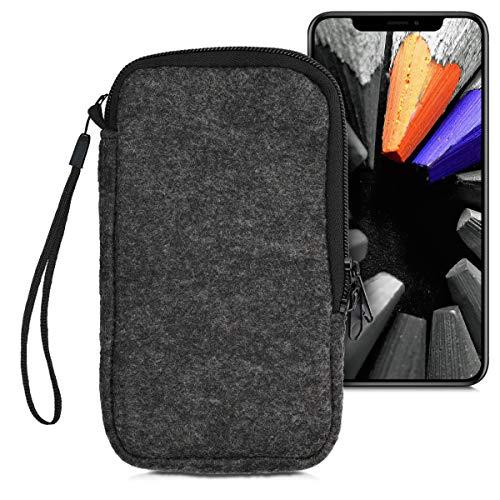 """kwmobile Handytasche für Smartphones L - 6,5"""" - Filz Handy Tasche Hülle Cover Case Schutzhülle Dunkelgrau - 16,2 x 8,3 cm Innenmaße"""