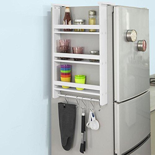 SoBuy FRG150-W Hängeregal für Kühlschrank mit 5 Haken, Türregal, Badregal, Küchenschrank mit 3 Ablagen, BHT ca.: 42x74x9cm