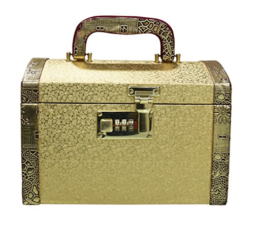 Pride Faux Leather Golden Hard Sided Luggage Cosmetic Cases