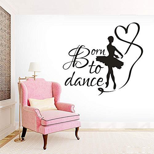 wukongsun Geboren im Tanz des berühmten Wandplakat-Tanzstudios, dekoriert Mädchen Tanzt Tanzwandaufkleber schwarz 63x57cm