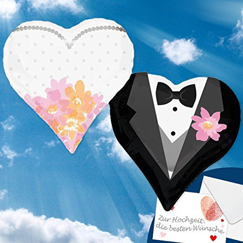 Folienballon HERZEN BRAUT & BRÄUTIGAM XXL 63x76cm, Herzballons zur Hochzeit + PORTOFREI mgl + Glückwunschkarte + Helium & Ballongas geeignet. High Quality Premium Ballons vom Luftballonprofi & deutschen Heliumballon Experten