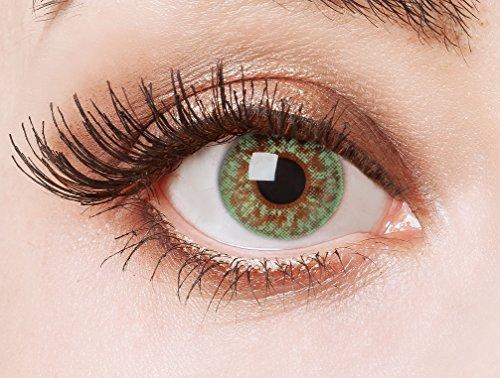 Couleur des lentilles de contact naturelles Green Glitter de aricona - ans les lentilles pas opaque à terme pour les yeux claires- sans correction- les lentilles colorées pour le carnaval- des soirées à thème et des costumes d'Halloween et accessoires de mode