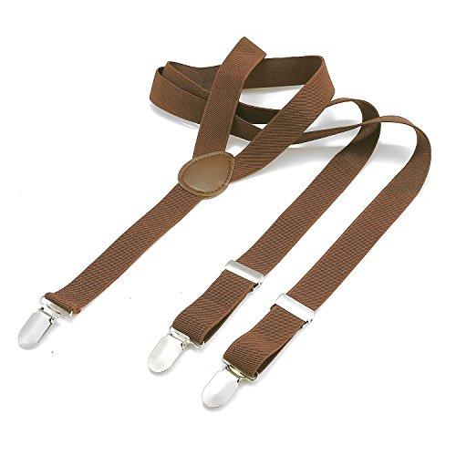 Dondon bretelle uomo sottili 2,5 cm - 3 clips a y - elastiche con regolabili - marroni