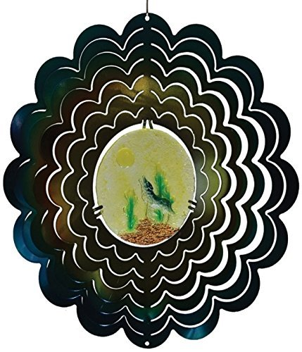 Great World 12 Inch Coyote Zephyr Spiral Wind Spinner With Poly Resin Insert