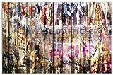 Wallario Herdabdeckplatte/Spritzschutz aus Glas, 2-teilig, 80x52cm, für Ceran- und Induktionsherde, Motiv Bemalte Holzplanken mit Alter Schrift