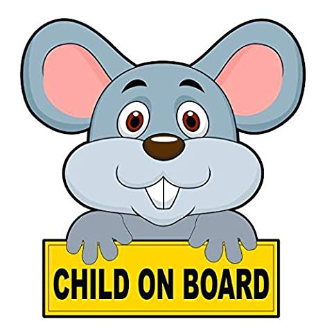 Child On Board - Mouse Car Sticker / Voiture Autocollant / Window Decal Bumper Sign
