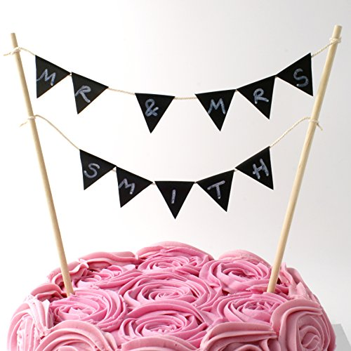 Cake Topper Double Row Bunting Build It Yourself Kit Personalised With Free Chalk Pen