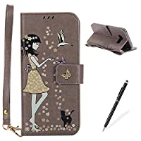 MAGQI Samsung Galaxy S8 Plus Wallet Case [Free Black Stylus Pen],Premium Soft Samsung Galaxy S8 Plus PU Leather Cover [Luminous],Metal Magnetic Closure [Stand Function] Card Holder Hand Strap with Beautiful Girl Pink Flower Butterfly Pattern Design and Bo