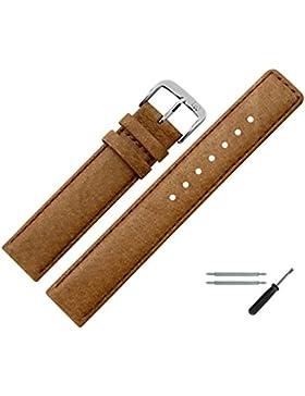Uhrenarmband 16mm Leder Braun Naht - Inkl. Federstege / Werkzeug - Ersatzarmband Aus Echtem Schweinsleder Für...