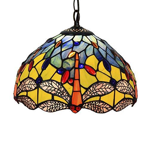 Tiffany-Stil Kronleuchter, 12 Zoll Glasmalerei Anhänger Beleuchtung Kristall Perle Libelle Stil Pendelleuchte Lichter für Esszimmer Schlafzimmer Wohnzimmer als Anhänger Deckenleuchte -