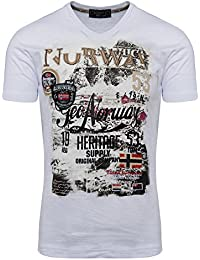 Geographical Norway Herren T Shirt V-Ausschnitt Shirt Basic