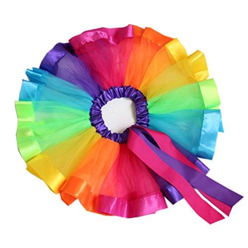 Honeystore Mädchen's Rock Schminktisch Märchen Prinzessin Party Tutu Rock Unterkleid Tütü Prinzessin Petticoat für Karneval, Party und Hochzeit Mehrfarbig (Karo-jacke Und Leder)