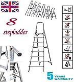 3 4 5 6 7 8 Stufen-Leiter aus Aluminium, leicht, robust, tragbar, faltbar, 150 kg Kapazität EN131