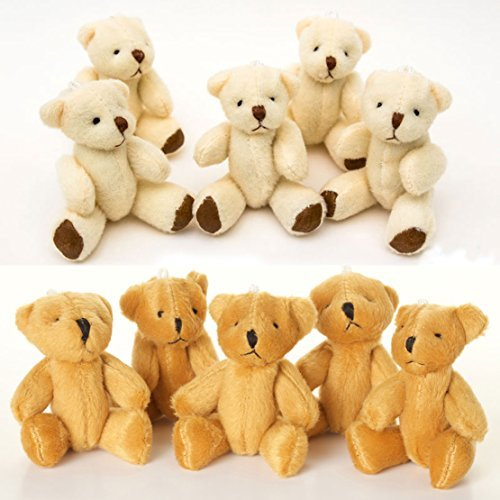 NEW Cute And Cuddly Little Teddy Bears X 20 - 10 X White And 10 X Brown - Gift ()