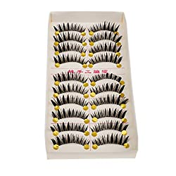 Magideal 10 Pairs Beauty Makeup Long Thick Curled False Natural Eyelashes