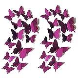Alxcio 3D Style Pvc Schmetterlinge Aufkleber Wandsticker Wandtattoo Lila Grün Blau Gold Wanddeko für Wohnung 24 Stück 3D Aufkleber Schmetterlings Nursery Selbstklebend Magnet Sticker - Lila
