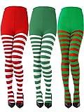 3 Paar Weihnachten Gestreifte Strumpfhosen In Voller Länge Gestreifte Socken Polyester Faser Strumpf für Damen Mädchen Weihnachten Cosplay Party (3 Farben, Erwachsene Größe)