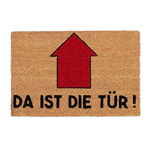 Relaxdays Fußmatte mit Spruch, Da ist die Tür, Pfeil, Eingangsbereich, Garten, Schmutzfang Türvorleger 60x40, Natur/rot, Standard -