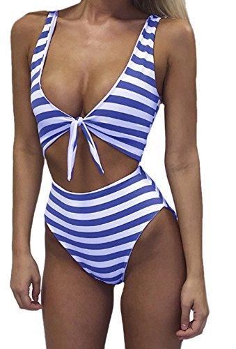 Weiblich Freizeit Vacation Reizvolle ärmellos Gestreifte Bowknot Einteiliger Badeanzug Blau