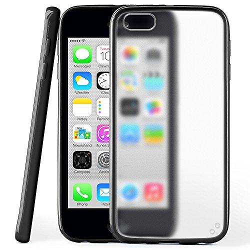 iPhone 5C Hülle Slim Transparent Grün [OneFlow Impact Back-Cover] Dünn Schutzhülle Silikon Handy-Hülle für iPhone 5C Case TPU Tasche Matt DEEP-BLACK