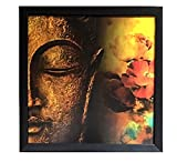#10: PPD Framed Wall Art Buddha Painting,(12 inch x 12 inch, (Wood, 30 cm x 3 cm x 30 cm, Special Effect Textured)