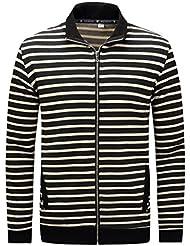 Mode Printemps Automne Hommes Casual Striped T-Shirt Turn-down collier T-Shirt M-2XL