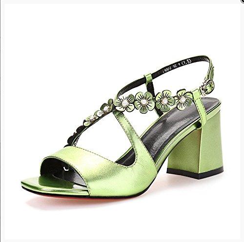 XY&GKCéréales secondaires d'été Sandales sangle de boucle talons sandales d'un été, confortable et belle 37 green