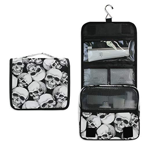 Vinlin Watercolor Skull Pattern Multifunction Portable Makeup Storage Bag Travel Hanging Organizer Bag for Women
