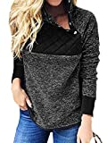 Vertvie Damen Pullover Mantel Kontrastfarbe Herbst Winter Chunky Slim Fit Fleece Pulli Turtleneck Jacke Rollkragen Sweatshirt (Schwarz, L)