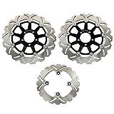 TARAZON Bremsscheiben Rotoren Set vorne hinten 3 pcs für KAWASAKI Ninja ZX6R 600 F ZX600F 95 96 97 ZX12R 1200 04 05 06