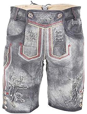 Michaelax-Fashion-Trade Krüger - Herren Lederhose in grau, Furchtlos und Treu 2 (92649-44)