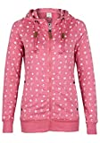 Sublevel Damen Alloverprint Sweatjacke mit Kapuze   Sportlich-Eleganter Hoodie in Rosé, Weiß & Blau Dark-Rose XS