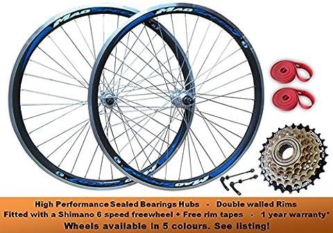 QR 700c Hybrid Cyclocross 29er Mountain Bike MTB Front Rear Wheel Set Wheelset Disc Rim Brake + Shimano 6 speed Freewheel Rim Tape High Performance Sealed Bearing Hubs Red Blue Yellow Green Quick Release Axle (SUITABLE FOR BOTH DISC AND RIM BRAKE