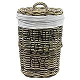 Wäschebox Wäschetruhe Wäschekorb Wäschesortierer Wäschekiste Wäschesammler Wäschetonne Truhe Kiste Aufbewahrungsbox 30x50cm mit Deckel in Rattan
