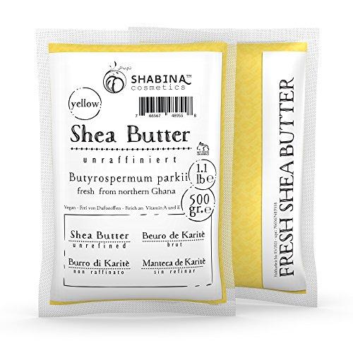 Shabina Shea Butter unraffiniert yellow pure premium 100% reine Sheabutter 500 gr, 1.1 lb - 407 - 100% Raw Shea Butter
