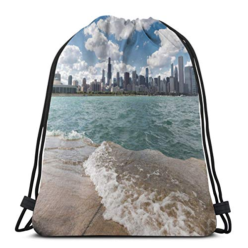 Nisdsgd Drawstring Shoulder Backpack Travel Daypack Gym Bag Sport Yoga, Michigan Lake Chicago Scenery In A Cloudy Day Skyline Urban Modern Cityscape,5 Liter Capacity,Adjustable. -