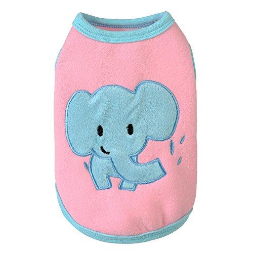 Oipoodde Haustier-Kleidung Niedlichen Haustier Hund Kleidung Weste Kreative Elefanten Gedruckt Kostüm Overall Outfit Für Welpen Hündchen Katze Hundekleidung (Farbe : Rosa, Größe : - Niedliche Elefanten Kostüm