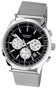 Reloj de caballero SEKONDA 3415.27 de acero inoxidable Resistente al agua negro de SEKONDA