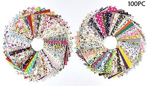 100X RayLineDo:emoji: Bündel von 10cm x 10cm Verschiedene Muster-Streifen-Punkt-Blumen-Baumwollpatchwork -Gewebe Bundle Squares Steppen Scrapbooking Nähen Artcraft Tasche Hand machen Projekt Fabric-Thin Stoff