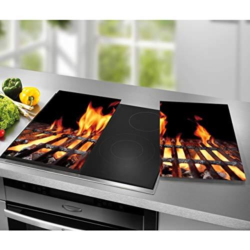 STONELINE® Herdabdeckplatten-Set aus Glas, 2-tlg. ca. 52 x 30 cm (Feuer)