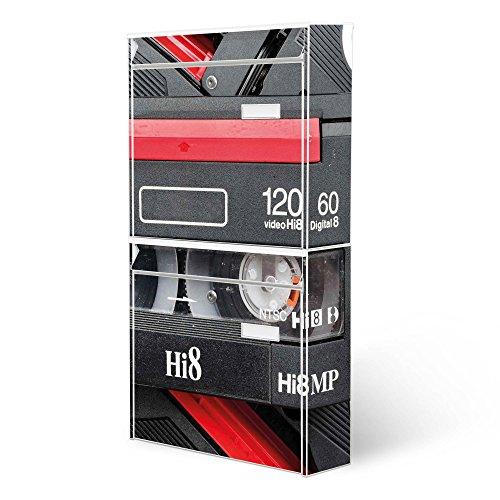 BANJADO Briefkastenanlage 2 fach | Stahl weiß mit 2 Briefkästen | Doppelbriefkasten 36x64x10cm | inklusive Namensschild | Wandmontage mit Motiv Video Kassette