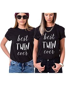 Mejores Amigas Impresión Algodón Camiseta 2 Piezas Best Friends Shirts Manga Corta Cuello Redondo Best Twin Ever...