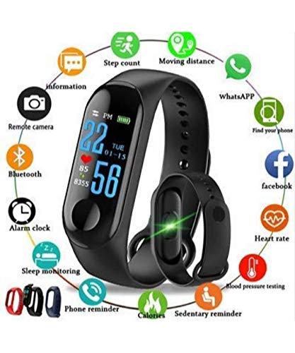Viya Products M3 Fit Band Activity Tracker Heart Rate Monitor, Sleep Monitor, Calore Burned OLED Display Activity Tracker Bracelet Wristband USB Charging for Android iOS (Black) Model 101687