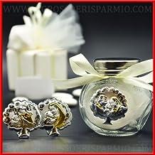 Bote de cristal dulces para confettate transparente con tapón de rosca de metal color plata, decorado al cuello de un lazo y en la parte frontal de una ...