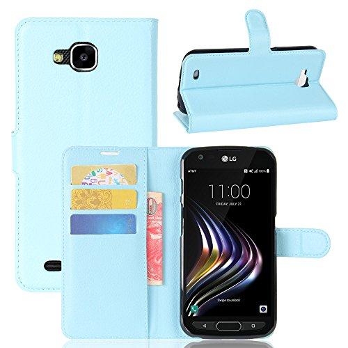 Kihying Hülle für LG X Venture Hülle Schutzhülle PU Leder Flip Wallet Fashion Geschäft HandyHülle (Blau - JFC07)
