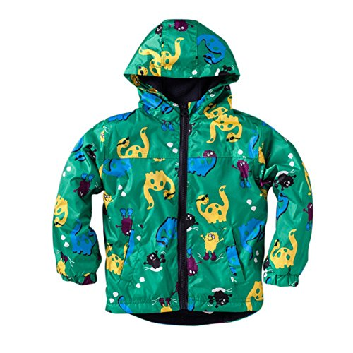 ESHOO Kids Boys Hooded Coat Cute Dinosaur Jacket Lightwight Autumn Warm Outwear