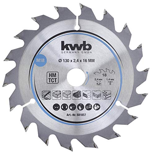 kwb 581857 Span-Platten Kreissäge-Blatt, Holz-/Hartholz-Sägeblatt, 130 x 16 mm, saubere Schnitte, mittlere Zahl, 18 Zähne Z-18