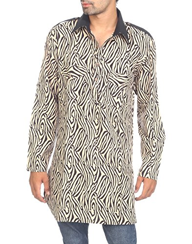 Rajrang Men's Cotton Long Kurta -Black & White -X-Large