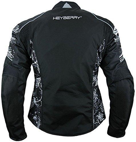 Heyberry Damen Motorrad Jacke Motorradjacke Textil Soft Shell Schwarz Gr. XXL/44 - 3